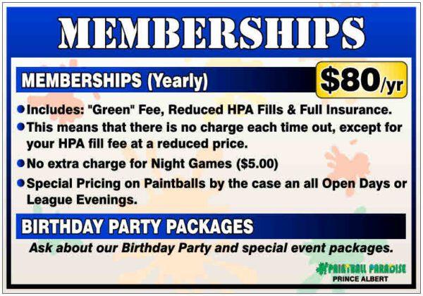 Paintball Paradise Memberships