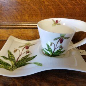 Lady Slipper design cup & plate