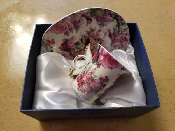 Victorian Floral Style Teacup & plate.