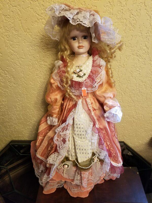 Pink Dress Porcelain Doll