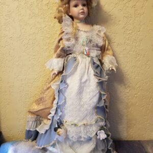 White Tan Blue Dress Porcelain Doll