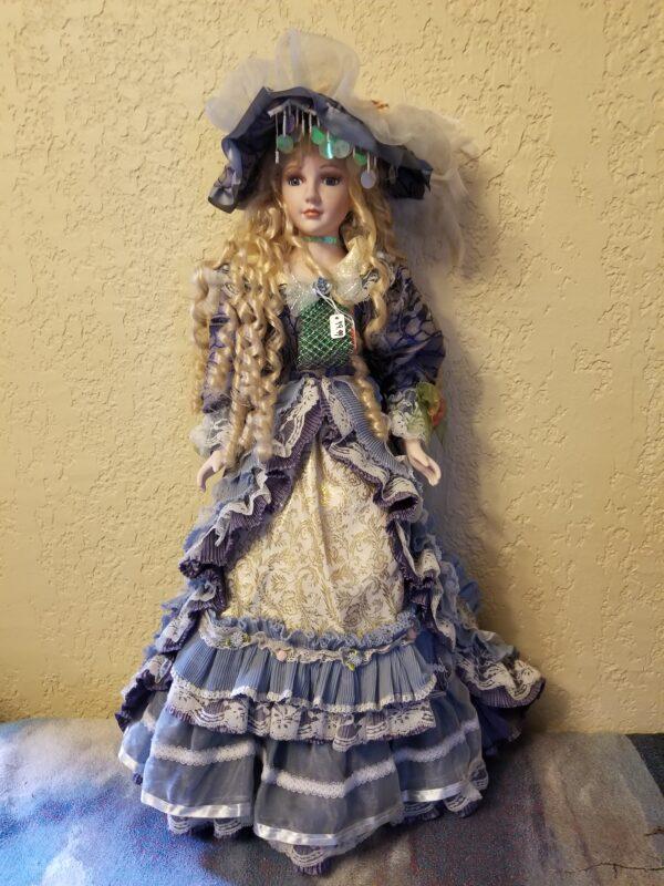Blue Dress & Lace Porcelain Doll