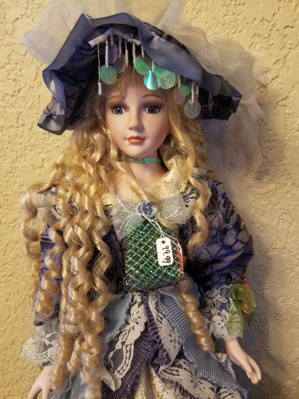Blue Dress Porcelain Doll