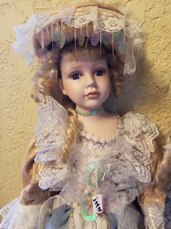 Porcelain Doll White Tan Blue Dress