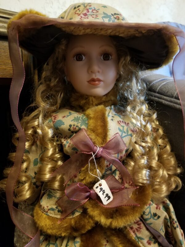 Mauve, Lace and Gold Faux Fur Trim Porcelain Doll