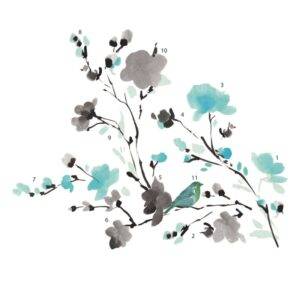 Blossom+Watercolor+Bird+Branch+Wall+Decal