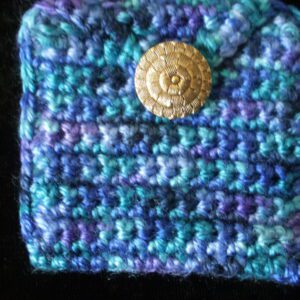 purple turquoise blue coin or rosary purse