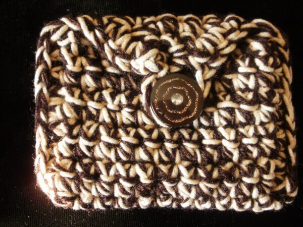 brown white rectangle coin/rosary purse 13