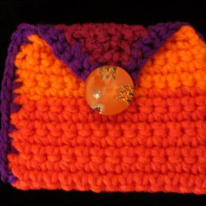 orange yellow purple red rectangle coin/rosary purse 15
